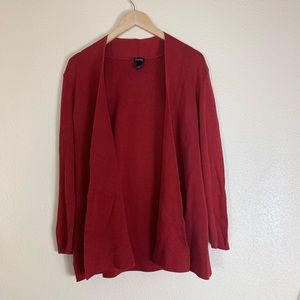 Eileen Fisher Red Knit Cardigan